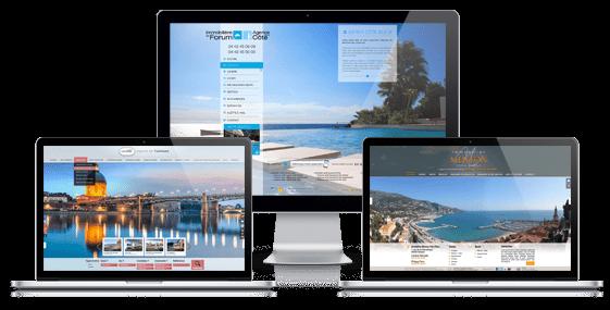Aperçu des sites immobiliers webresponsive réalisés par La Boite Immo