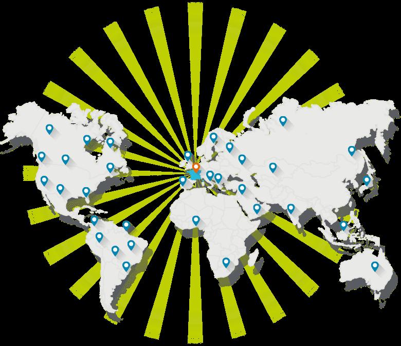 Carte des pays où les services de diffusion d'annonces Worldposting sont disponibles